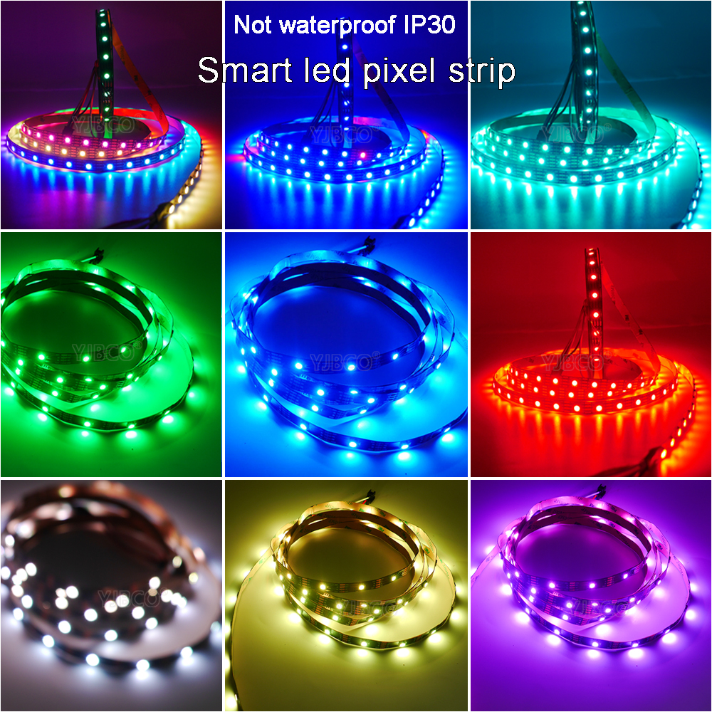 50m 10lots 5m/rola WS2812B Inteligent pixel led strip lumină;DC5V 30/60 pixeli/led-uri/m;WS2812 IC;IP30/IP65/IP67,Negru/Alb PCB