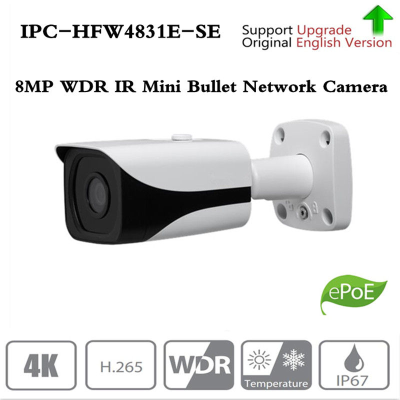 Original Dahua IPC-HFW4831E-SE, Ultra HD 8MP built-in slot pentru card sd IP67 IR40M POE 4K Camera IP înlocuiți IPC-HFW4830E-S