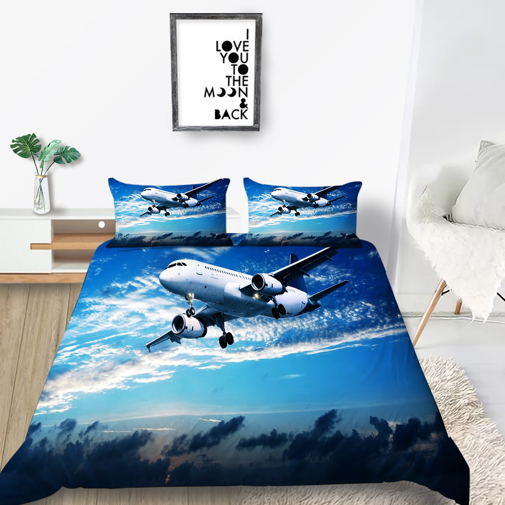 Avion cu elice Set de lenjerie de Pat Aeroport Realiste de Moda 3D Carpetă Acopere Regina King Twin Single Dublu Design Unic Set de Pat