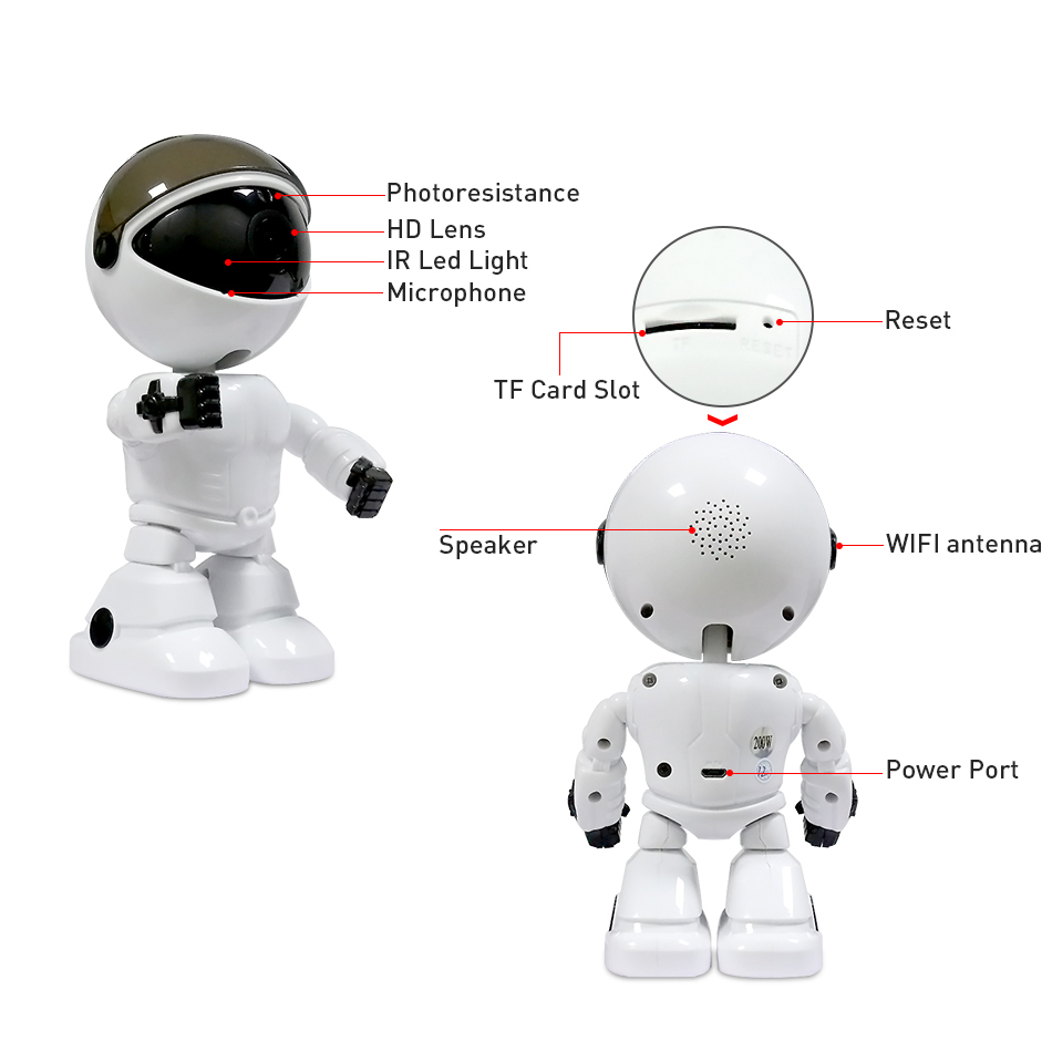 HD 1080P Home Security Camera IP Wireless Robot Wifi Camera Viziune de Noapte Camera 2MP Camera de Supraveghere CCTV Audio Baby Monitor